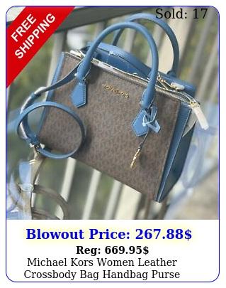 michael kors women leather crossbody bag handbag purse satchel shoulder brown m