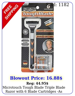 microtouch tough blade triple blade razor with blade cartridges as seen on t