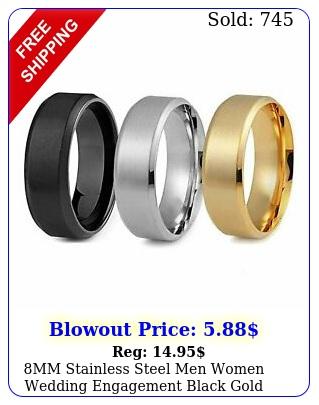 mm stainless steel men women wedding engagement black gold ring band siz