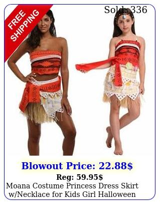 moana costume princess dress skirt wnecklace kids girl halloween cospla