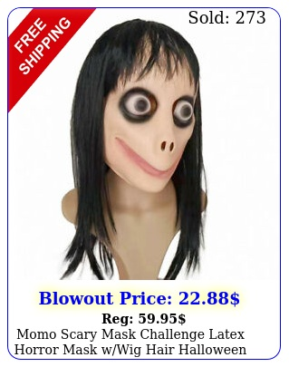 momo scary mask challenge latex horror mask wwig hair halloween party costum
