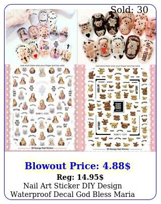 nail art sticker diy design waterproof decal god bless maria jesus teddy bea