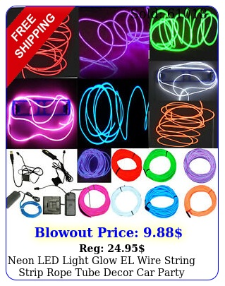 neon led light glow el wire string strip rope tube decor car party  controlle