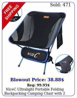 nicec ultralight portable folding backpacking camping chair with storage bag