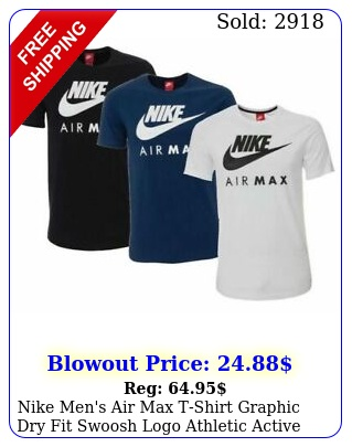 nike men's air max tshirt graphic dry fit swoosh logo athletic active wear gy