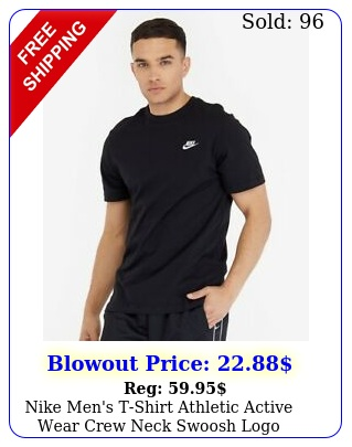 nike men's tshirt athletic active wear crew neck swoosh log