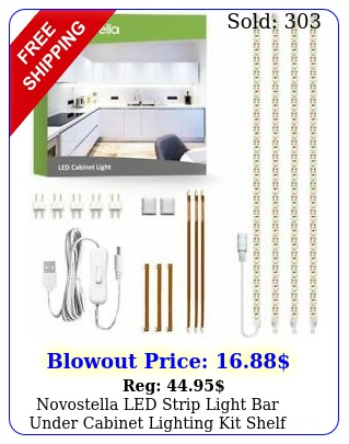 novostella led strip light bar under cabinet lighting kit shelf k cold whit