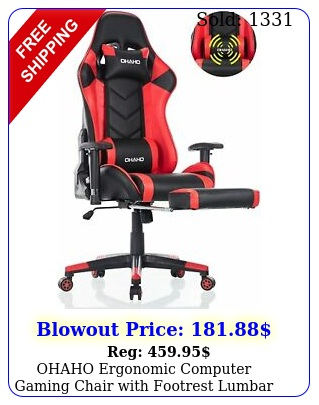 ohaho ergonomic computer gaming chair with footrest lumbar massage suppor