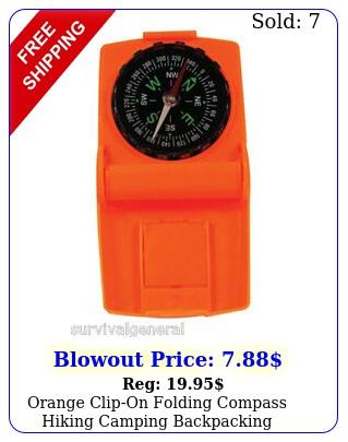 orange clipon folding compass hiking camping backpacking emergency wildernes