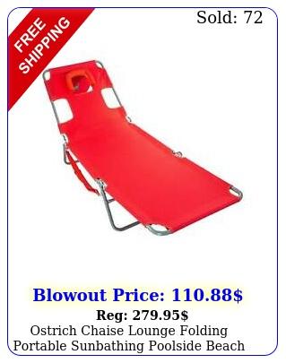 ostrich chaise lounge folding portable sunbathing poolside beach chair re