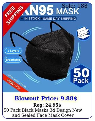 pack black masks d design sealed face mask cove