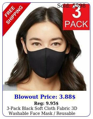pack black soft cloth fabric d washable face mask reusabl