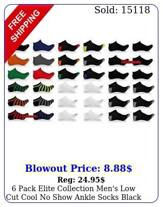 pack elite collection men's low cut cool no show ankle socks black lot