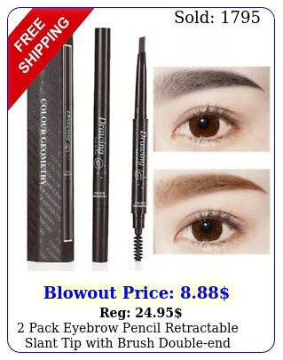 pack eyebrow pencil retractable slant tip with brush doubleend waterproof u