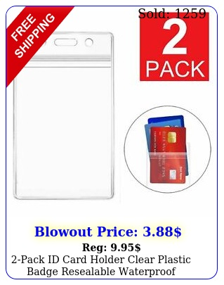 pack id card holder clear plastic badge resealable waterproof business cas