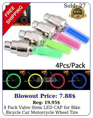 pack valve stem led cap bike bicycle car motorcycle wheel tire light lam