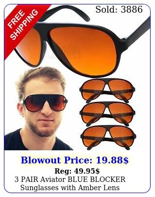 pair aviator blue blocker sunglasses with amber len