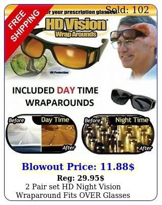 pair set hd night vision wraparound fits over glasses sunglasses as seen on t