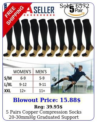 pairs copper compression socks mmhg graduated support mens womens smxx
