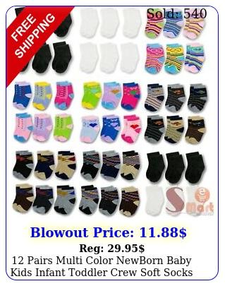 pairs multi color newborn baby kids infant toddler crew soft socks mont