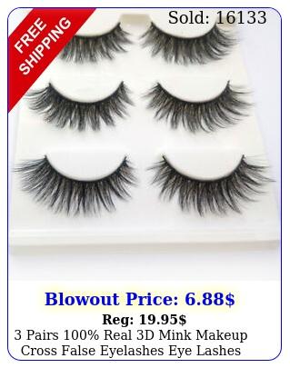 pairs real d mink makeup cross false eyelashes eye lashes handmad