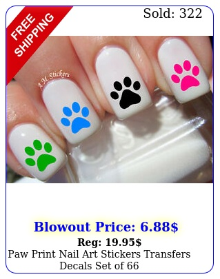 paw print nail art stickers transfers decals set o