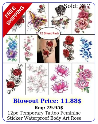 pc temporary tattoo feminine sticker waterproof body art rose floral butterfl