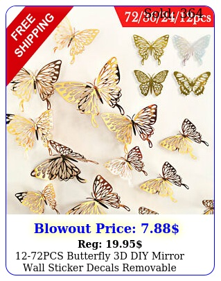 pcs butterfly d diy mirror wall sticker decals removable modern home deco