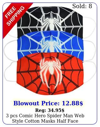 pcs comic hero spider man web style cotton masks half face cartoon mouth cove