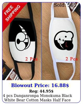 pcs danganronpa monokuma black white bear cotton masks half face mouth cove