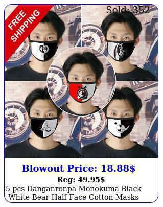 pcs danganronpa monokuma black white bear half face cotton masks mouth cove