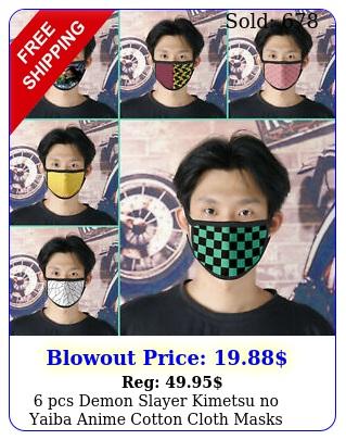 pcs demon slayer kimetsu no yaiba anime cotton cloth masks face mouth cove