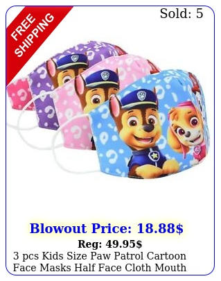 pcs kids size paw patrol cartoon face masks half face cloth mouth cover cotto