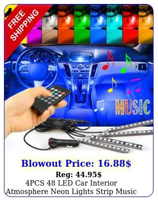 pcs led car interior atmosphere neon lights strip music control  ir remot