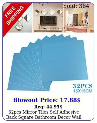 pcs mirror tiles self adhesive back square bathroom decor wall stickers mosai