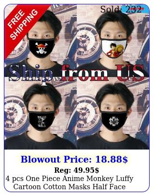 pcs one piece anime monkey luffy cartoon cotton masks half face cover mout