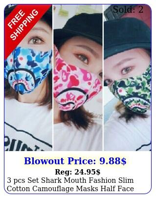 pcs set shark mouth fashion slim cotton camouflage masks half face mouth cove