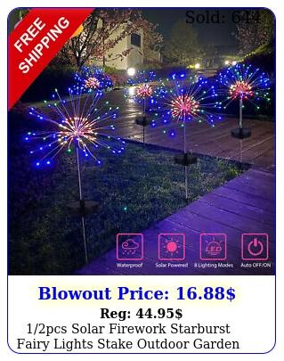 pcs solar firework starburst fairy lights stake outdoor garden path lawn lam