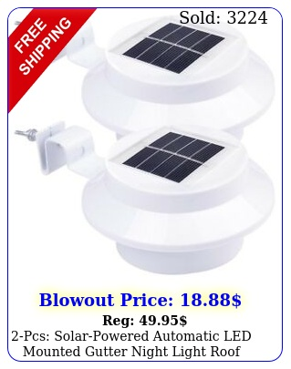 pcs solarpowered automatic led mounted gutter night light roof outdoor yar