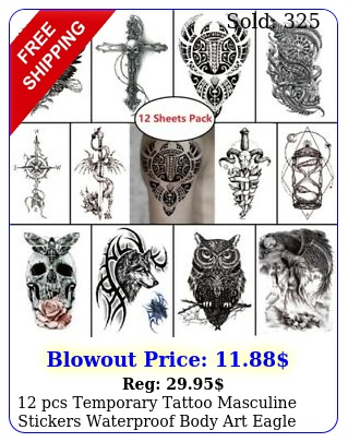 pcs temporary tattoo masculine stickers waterproof body art eagle skull cros