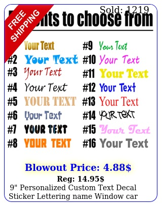 personalized custom text decal sticker lettering name window car lapto