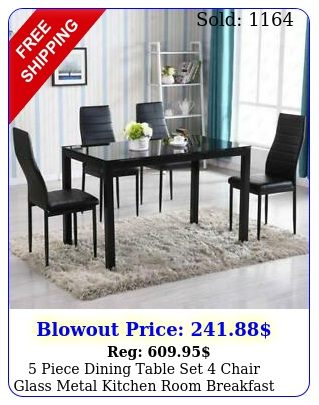 piece dining table set chair glass metal kitchen room breakfas