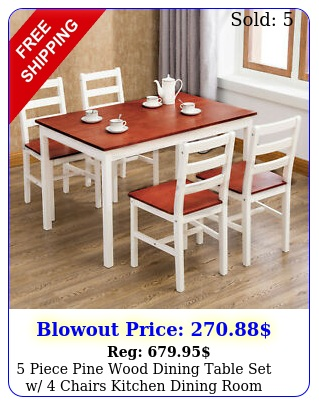 piece pine wood dining table set w chairs kitchen dining room furnitur