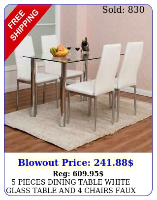 pieces dining table white glass table chairs faux leather dinning se