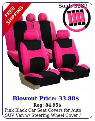 pink black car seat covers auto suv van w steering wheel cover belt pa