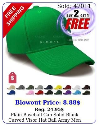 plain baseball cap solid blank curved visor hat ball army men women loop v
