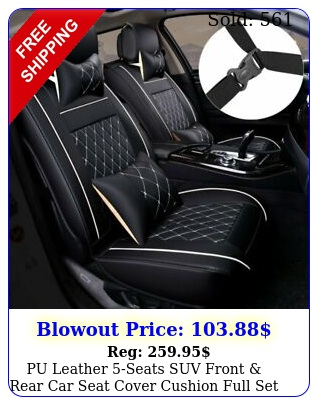 pu leather seats suv front rear car seat cover cushion full set universa