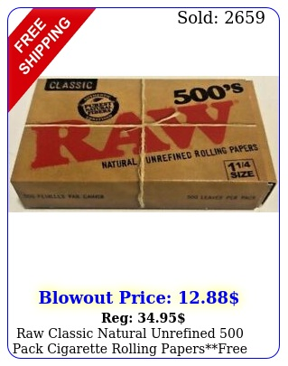 raw classic natural unrefined pack cigarette rolling papersfree shippin