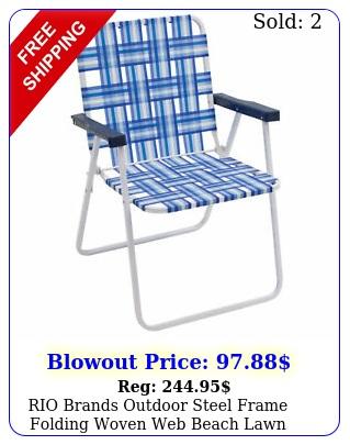 rio brands outdoor steel frame folding woven web beach lawn patio chair blu