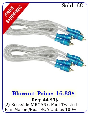 rockville mrca foot twisted pair marineboat rca cables coppe